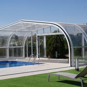 Abri de piscine télescopique blanc