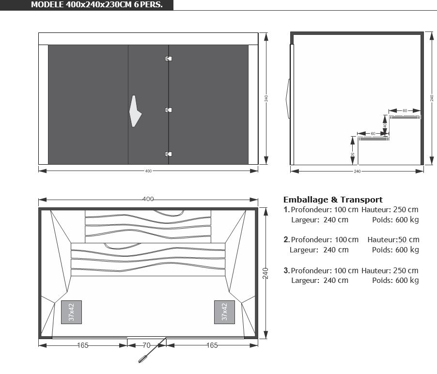 Dimensions sauna abstracto - sauna professionnel - piscine & Jardin