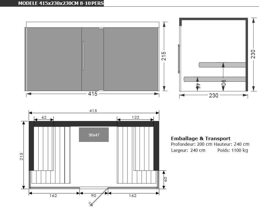 dimensions sauna nobleza piscine & jardin