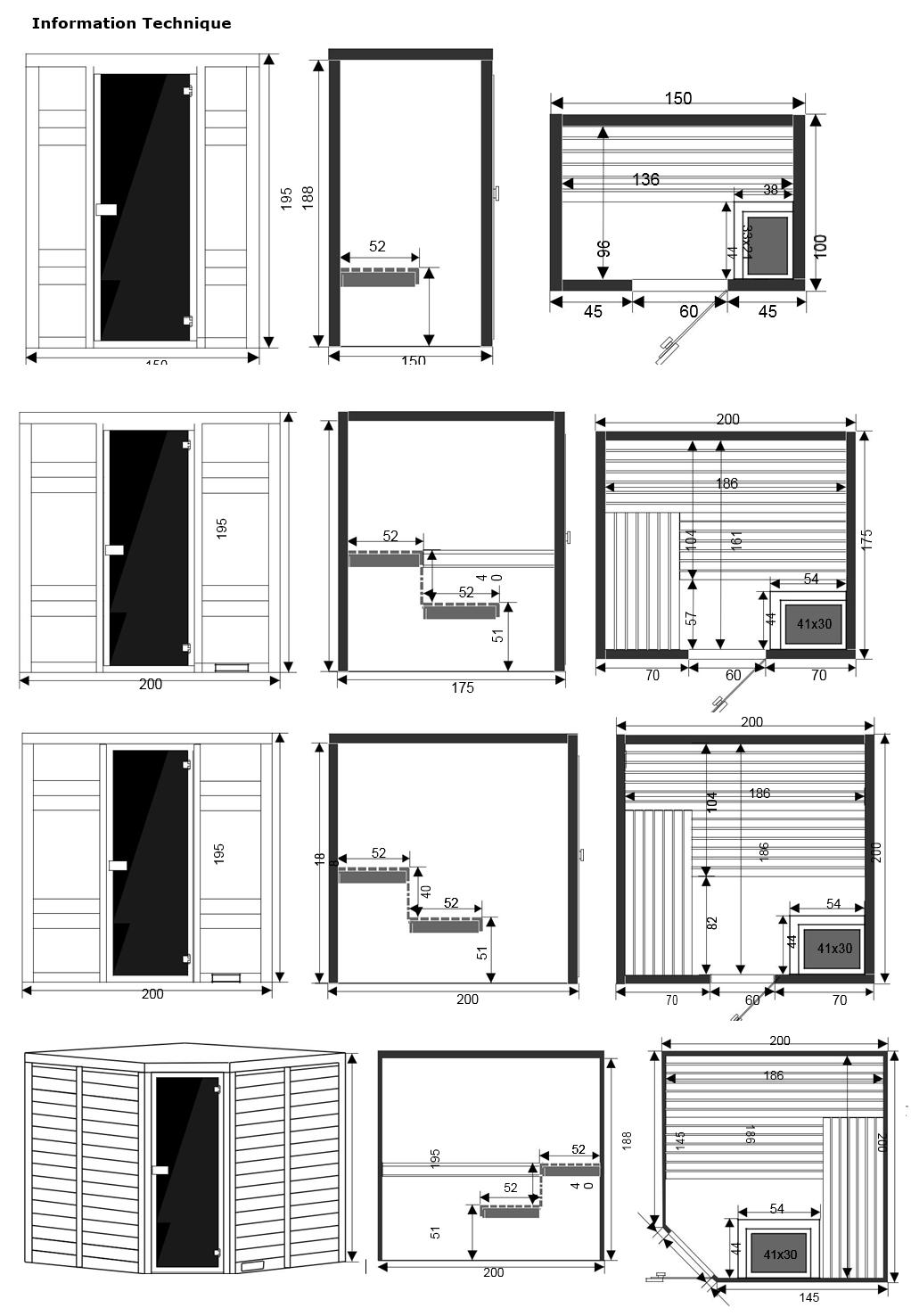 dimensions sauna kyla - piscine & jardin - NPdC
