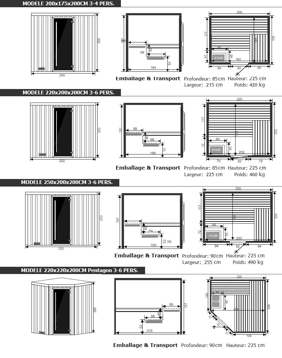 Dimensions sauna chaleur - Piscine et jardin - Nord pas de calais picardie