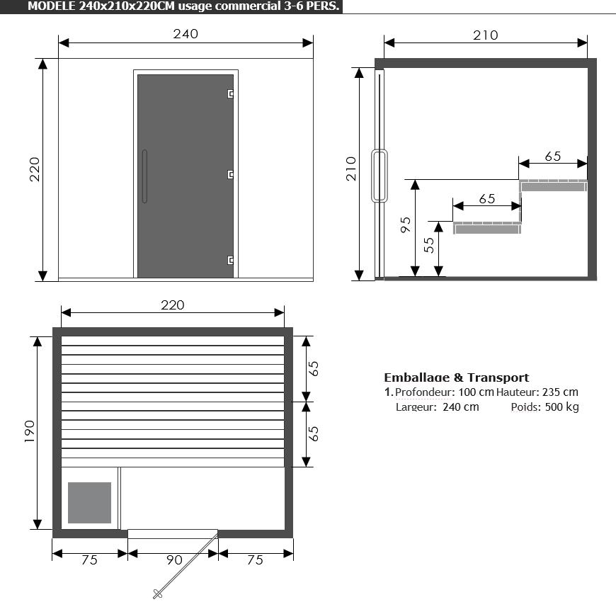 Dimensions sauna Profi - sauna traditionnel - Piscine Jardin