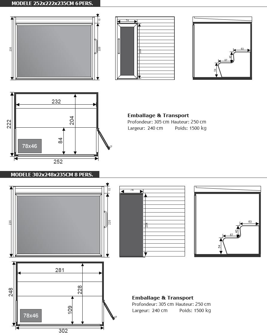 dimensions sauna tradi luxury - piscine et jardin