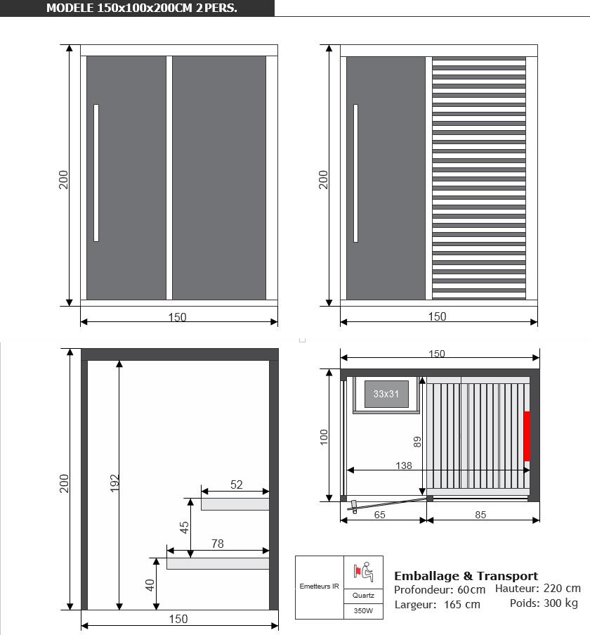 dimensions sauna sahara combi par Piscine & Jardin